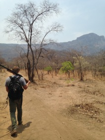 Hiking the Rukwa - carrying the gun for safety against wild animals