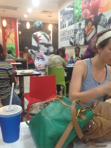 Enjoying dinner before seeing the new Star Wars in Dar....and also creeping on that guys outfit...haha