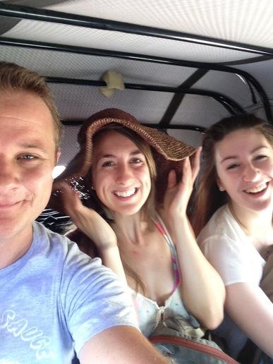 Crammed in the back of the bajaji