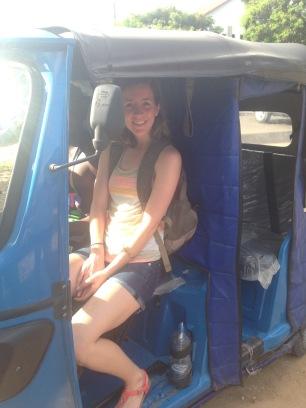 Rachel experiencing a ride in the Bajaji...local transport in Dar