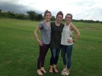Rachel, Katie and I at Kili Golf...we took a few shots on the driving range