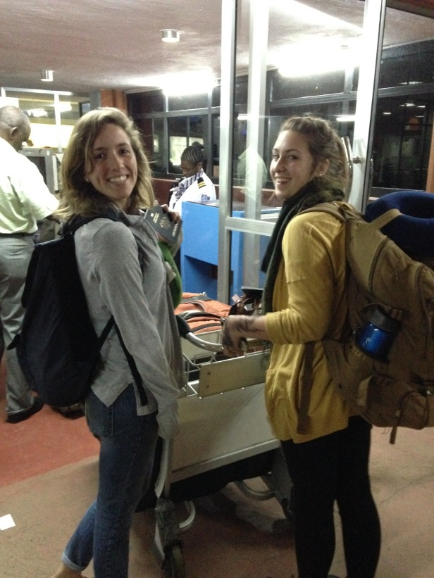Rachel & Katie checking into the airport
