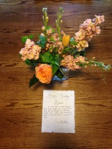 Special flowers and note on my birthday from Colton :)