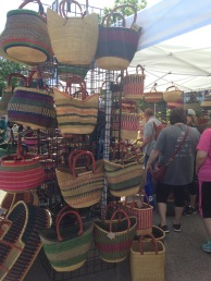 Jenks farmers market on my bday...these baskets were from Tanzania/Africa :)