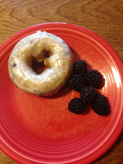 Blueberry donut and fresh blackberries...cant get either in Tanzania!