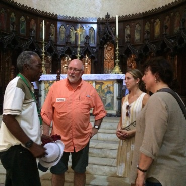 Our guide telling the history of the old church in Zbar