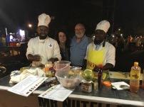 Zanzibar pizza chefs at the food market in Zbar
