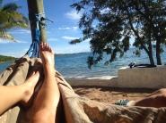 Relaxing at our room at Lake Tanganyika