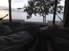 View from our bed at Lake Tanganyika