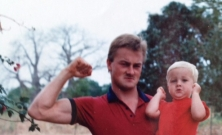 Colton with his Dad - Africa 1990