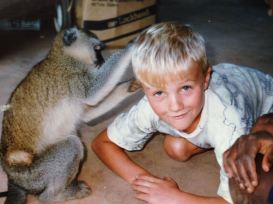 Colton being groomed by a monkey!
