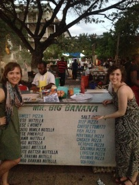Zanzibar Pizza is a unique and special food item thats a must try when in Zanzibar...there are a bunch of different booths that make them all with great names...'Mr. Big Banana'!