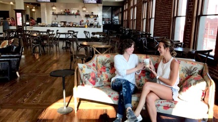 Sharing my 'Spicy Cowgirl' coffee drink at the 'Merc in Pawhuska