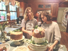 The bride and sister creating the cakes for the wedding