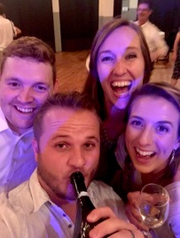 Having fun with friends at the reception