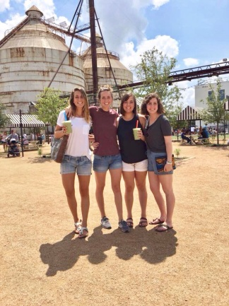 Fresh off the plane from Africa (3 of us at least) happy to be all 4 sisters again. Magnolia Market