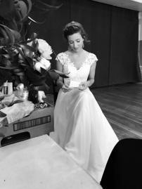 Bride reading through her vows