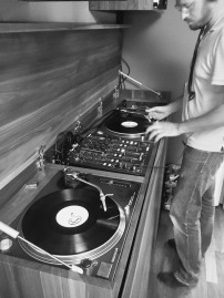 Our friend has his own DJ booth at their apartment...pretty awesome!