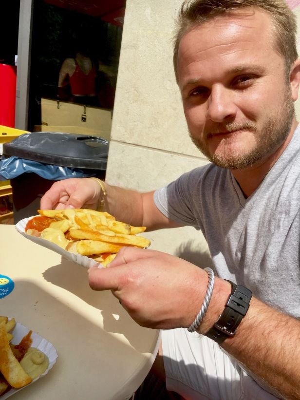 'traditional' Berlin food we were told is a must: Curried bratwurst and fries