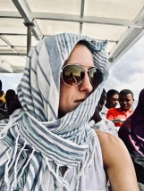 Ferry to Zanzibar- It was so windy I had to hold my hair down some how ;)
